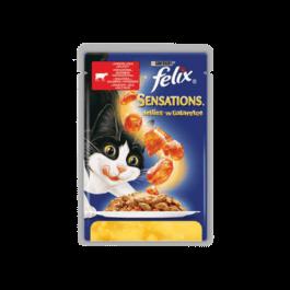 Karma dla kota Felix sensations z wołowiną w galaretce 100g Nestle Purina