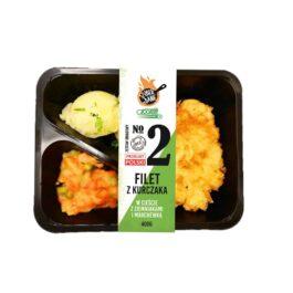 Zestaw obiadowy – filet z kurczaka w cieście, ziemniaki, marchewka z groszkiem 400g Społem PSS Kielce