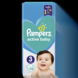 Pieluszki Pampers active baby midi rozmiar 3, 6-10kg 58szt. P&G