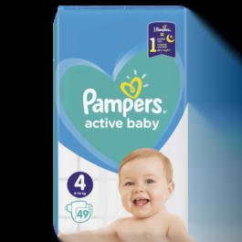 Pieluszki Pampers active baby maxi rozmiar 4, 9-14kg 49szt. P&G