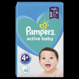 Pieluszki Pampers active baby maxi plus rozmiar 4+, 10-15kg 45szt. P&G