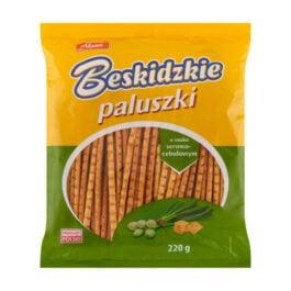 Paluszki Beskidzkie o smaku serowo-cebulowym 220g Aksam