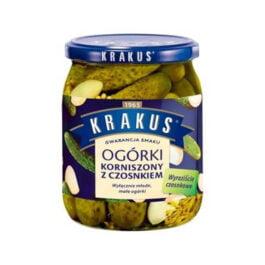Ogórki korniszony z czosnkiem Krakus 500g Agros Nova