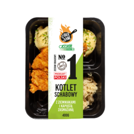 Zestaw obiadowy – kotlet schabowy, ziemniaki, kapusta zasmażana 400g Społem PSS Kielce