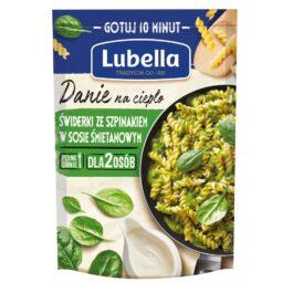 Danie na ciepło świderki ze szpinakiem w sosie śmietanowym 190g Lubella