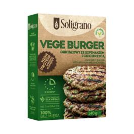 Vege burger orkiszowy ze szpinakiem i ciecierzycą 140g Soligrano