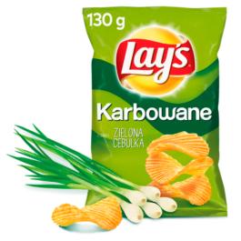 Chipsy Lay's karbowane o smaku zielonej cebulki 130g Frito Lay